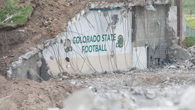 Painted walls of the old CSU locker room were exposed as part of Hughes Stadium's deconstruction. The demolition was completed earlier this year. Fort Collins is considering annexing the property into the city.