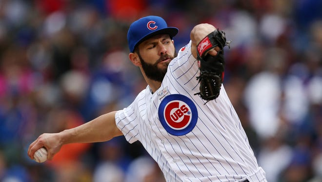 Chicago Cubs starting pitcher Jake Arrieta works in the seventh inning against the Pittsburgh Pirates on Saturday, May 14, 2016, at Wrigley Field in Chicago. The Cubs won, 8-2, as Arrieta struck out 11, improving to 7-0 on the season.