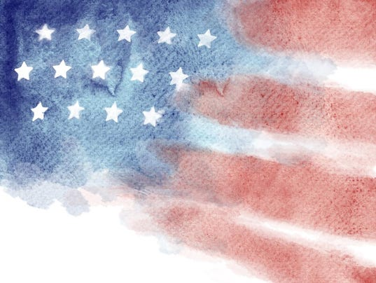 Patriotic Red, White, and Blue Watercolor Painted Background