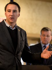 Congressmen Ryan Costello (left) and Charlie Dent (right) speak to Lebanon's civic organizations at the Lebanon Country Club on Wednesday, November 25, 2015.