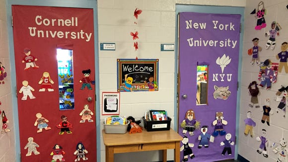 College names decorate doors to Myrtle Cooper Elementary School prekindergarten classrooms.