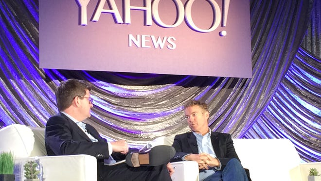 U.S. Sen. Rand Paul, R-Ky.,  speaks during Yahoo News' Digital Democracy conference at Drake University in Des Moines Thursday, Nov. 12, 2015.