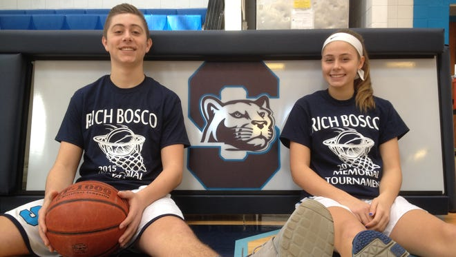 Richie and Abby Bosco played in the Rich Bosco Memorial basketball tournament, named after their late father, for the first time together on varsity.