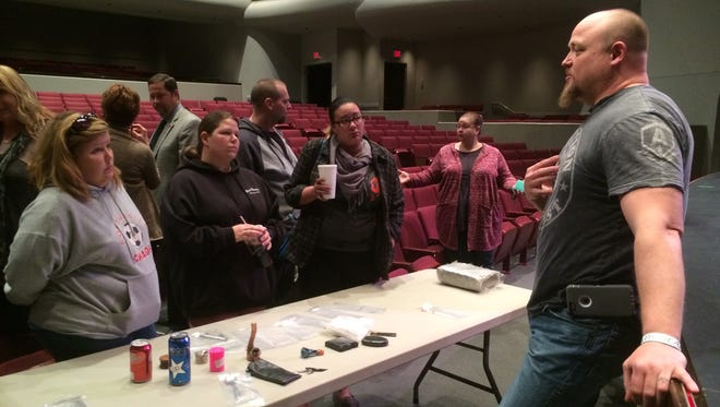 Sgt. James Mastriano, leader of the Wayne County Drug Task Force, speaks with some of the 26 people who attended a substance abuse forum in February in Richmond.