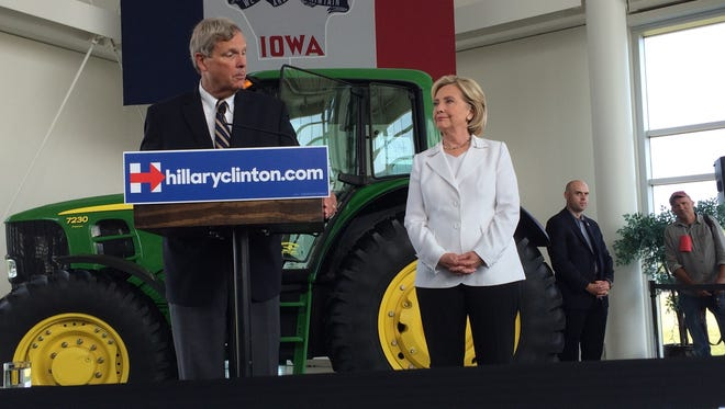 Agriculture Secretary Tom Vilsack introduces Hillary Clinton in Ankeny, Iowa, in 2015. Vilsack said the Democratic Party has not made as much of an effort as it ought to, to speak to rural voters - contributing to Clinton's failed bid for the White House.