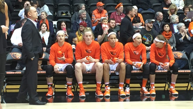 Oregon State's starting five with coach Scott Rueck (left) before tipoff against Washington State at Gill Coliseum on Dec. 30, 2016.