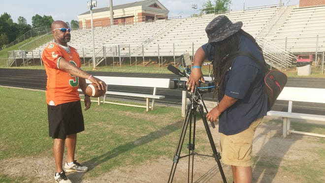 Former FAMU quarterback Patrick Bonner set multiple passing records in 1998. He poses for his on-camera interview with Wali Pitt of HBCU Gameday. Pitt is the filmmaker for the documentary titled The Original Gulf Coast Offense: The Mad Bomber and The RAC Boys.