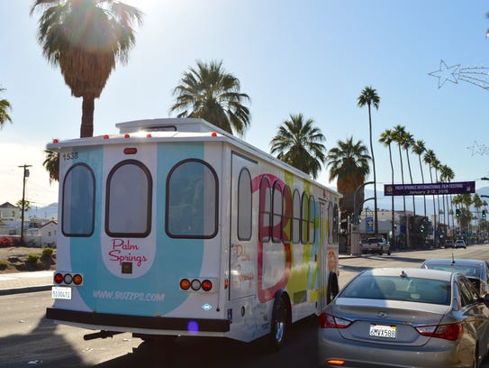 The Buzz trolley heads through downtown Palm Springs