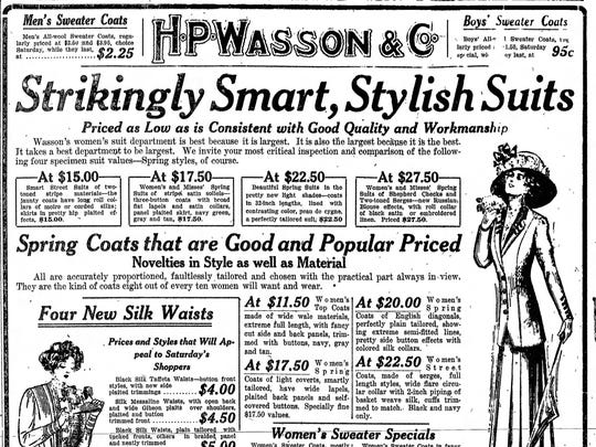 Feb. 26, 1910 Indianapolis Star H.P. Wasson & Co. advertisement