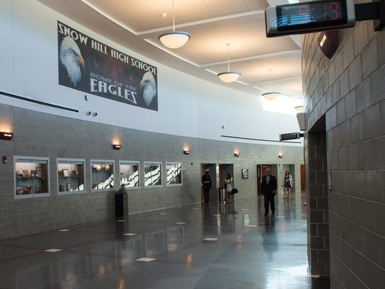 A view of the main hallway at Snow Hill that will showcase the Athletic Hall of Fame.
