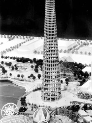 Model of Cesar Pelli's Indiana Tower in White River State Park