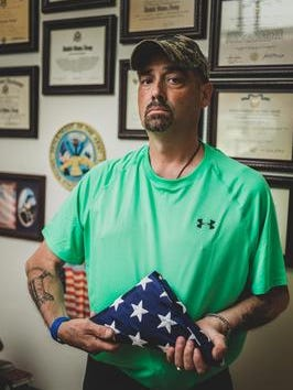 Retired Staff Sgt. Rodney Dean Kerksieck talks about his military career and how it has greatly affected his current health while serving during Operation Desert Storm. Taken on June 15, 2017, in his home in Marshfield, Wis.