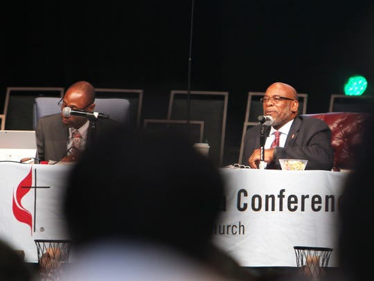 Bishop Jonathan Holston, right, at the South Carolina