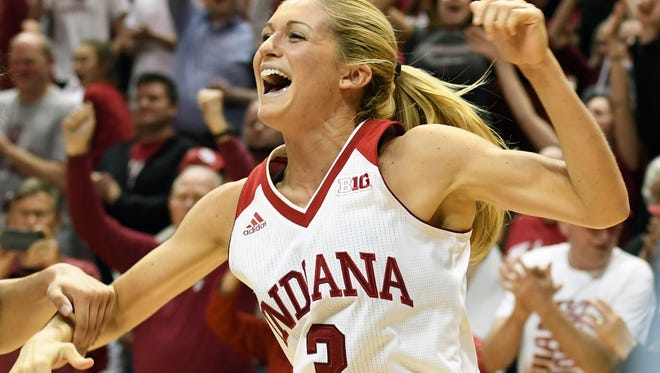 Indiana Hoosiers guard Tyra Buss (3) celebrates after learning that IU will host the championship game in the WNIT tournament after the game against TCU at Simon Skjodt Assembly Hall in Bloomington, Ind., on Wednesday, March 28, 2018.