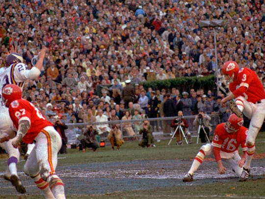FILE - In this Jan. 11, 1970, file photo, Kansas City Chiefs place kicker Jan Stenerud kicks a field goal against the Minnesota Vikings in the Super Bowl IV football game in New Orleans. Stenerud, the Norwegian soccer-style ace, kicked field goals of 48, 32 and 25 yards. The Chiefs won, 23-7.  (AP Photo/File)