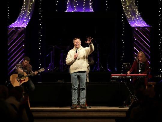 Pastor Curt Drexler speaks during a gathering Wednesday