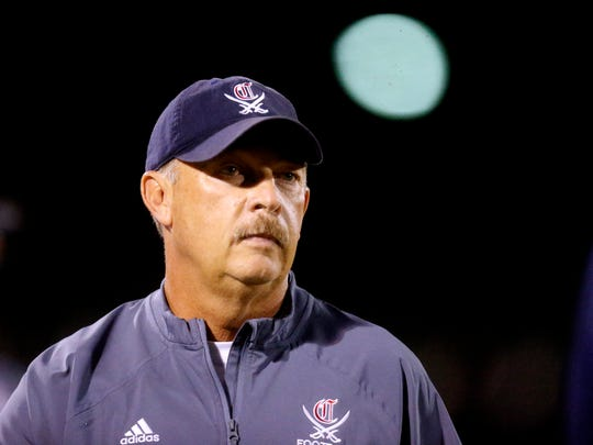 Cookeville's head football Coach Jimmy Maynord watches from the sidelines during the game against Riverdale, on Friday, Sept. 29, 2017, at Riverdale.