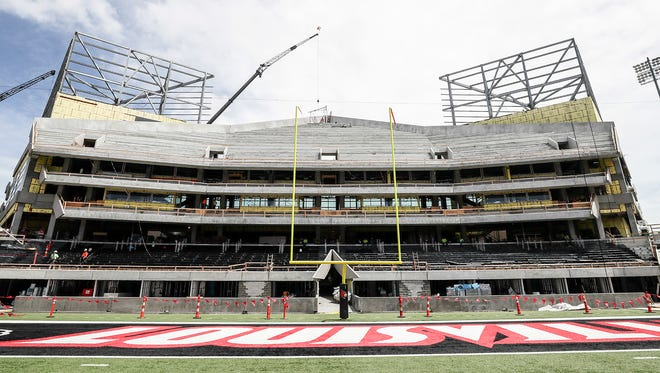The end zone expansion at Papa John's Cardinal Stadium is closer to completion.  May 29, 2018