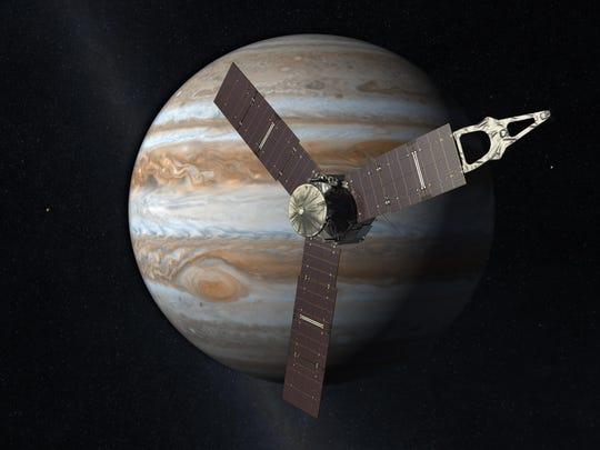 Artist rendering of NASA's Juno spacecraft at Jupiter.