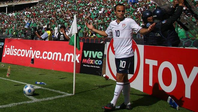 Landon Donovan has trash thrown at him as he prepares to take a corner kick against Mexico at the Estadio Azteca in 2009.