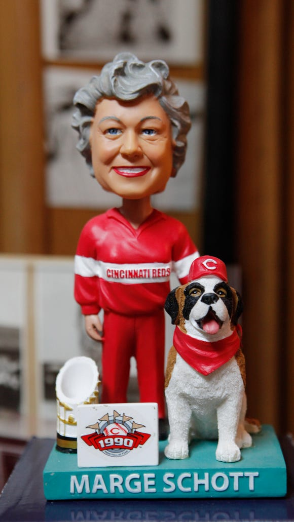 "collections sports figures  STYLE  A Marge Schott Bobble head from the Baseball Hall of Fame.  John ""Hondo"" Skurkay (cq) has hundreds of thousands and baseball card and 1,600 sports figures displayed in his 1,200-square-foot basement covering all the walls, a collection he has been building for over 50 years. January 24, 2013 The Enquirer/ Tony Jones"