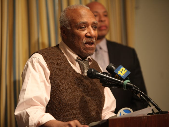 Mount Vernon Mayor Ernie Davis speaks during a press conference at Mount Vernon Courthouse on April 2, 2014, on the arrest of Kamau Kiarie, 36, who has been charged with 2nd degree murder in the shooting death of  Michael Santiago.
