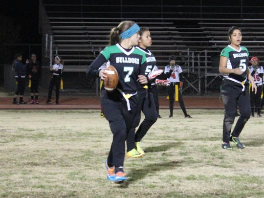 Lady Bulldog quarterback Kallie Graves looks downfield