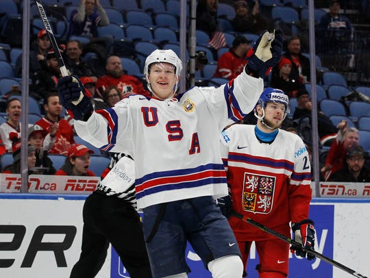 United States forward Brady Tkachuk (7) celebrates
