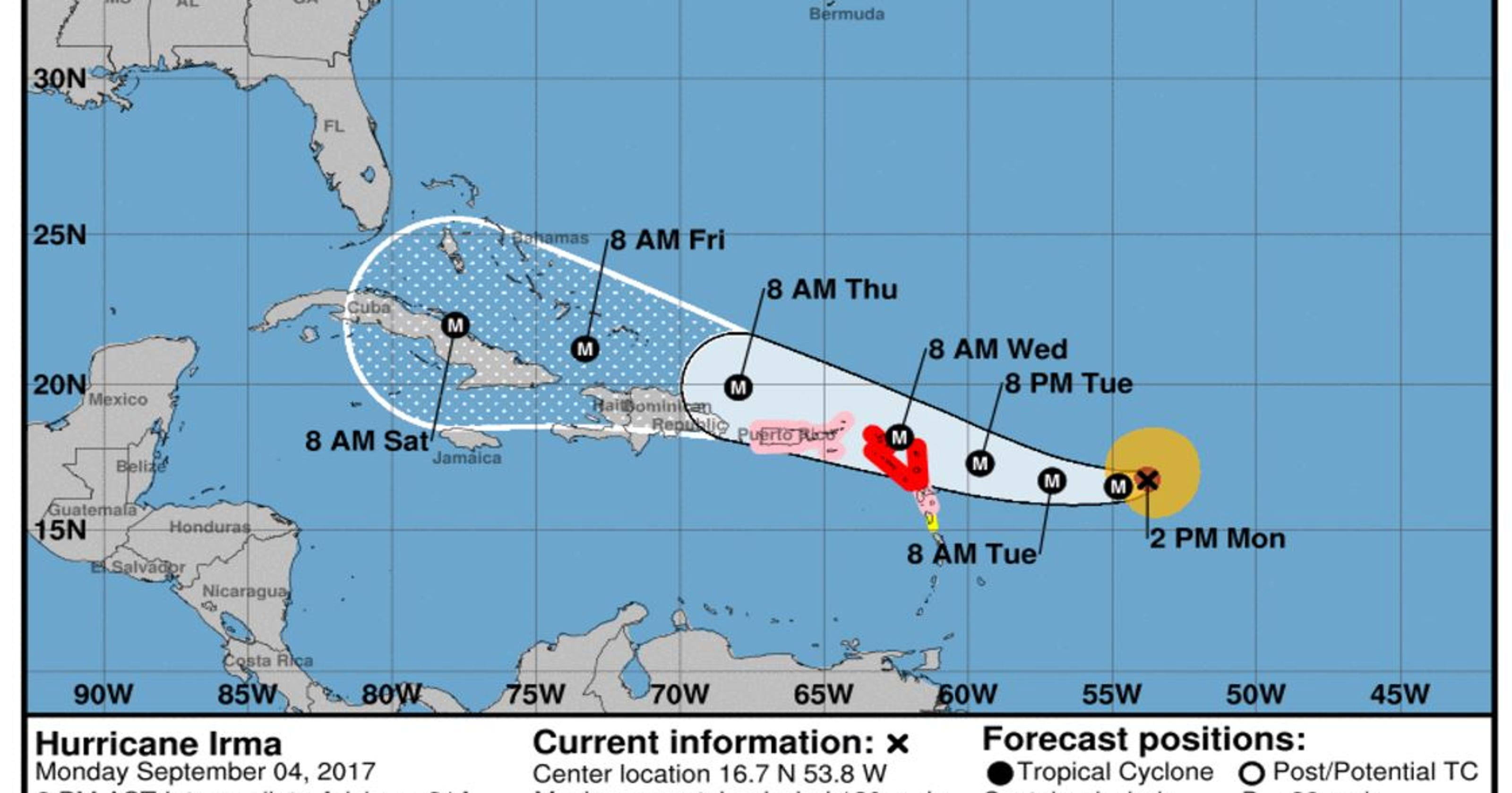 Hurricane Irma Forecast path shifts westward for Category 3 storm