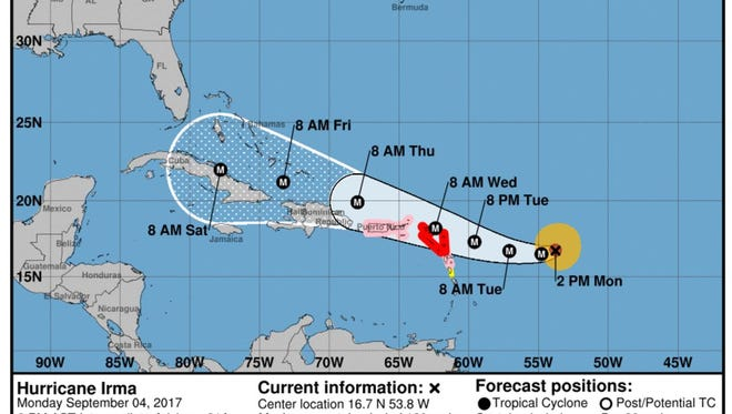 The National Hurricane Center's projection for Hurricane Irma's path on Monday, Sept. 4, 2017.