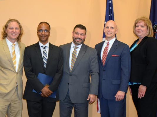 From left, are Rep. Kevin Schreiber, HACC graduate Ron Sexton, Pennsylvania Education Secretary Pedro Rivera, HACC President John  Ski  Sygielski and Elizabeth Bolden, president/CEO of the Pennsylvania Commission for Community Colleges.
