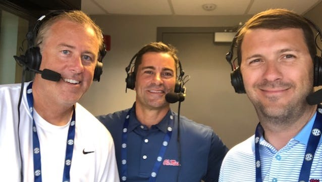 Richard Cross, right, took over Ole Miss' SEC Tournament broadcast with Keith Kessinger, left. Former Rebel slugger David Dellucci, center, joined them in the booth.