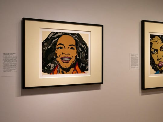 """Oprah Winfrey, left, and Condoleeza Rice, are pictured in portraits by artist Mickalene Thomas, part of """"Eye Pop: The Celebrity Gaze,"""" at the National Portrait Gallery, Monday May 18, 2015, in Washington."""