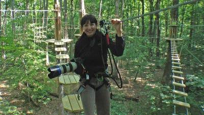 IndyStar photographer Michelle Pemberton on the Eagle Creek GoApe zip line.