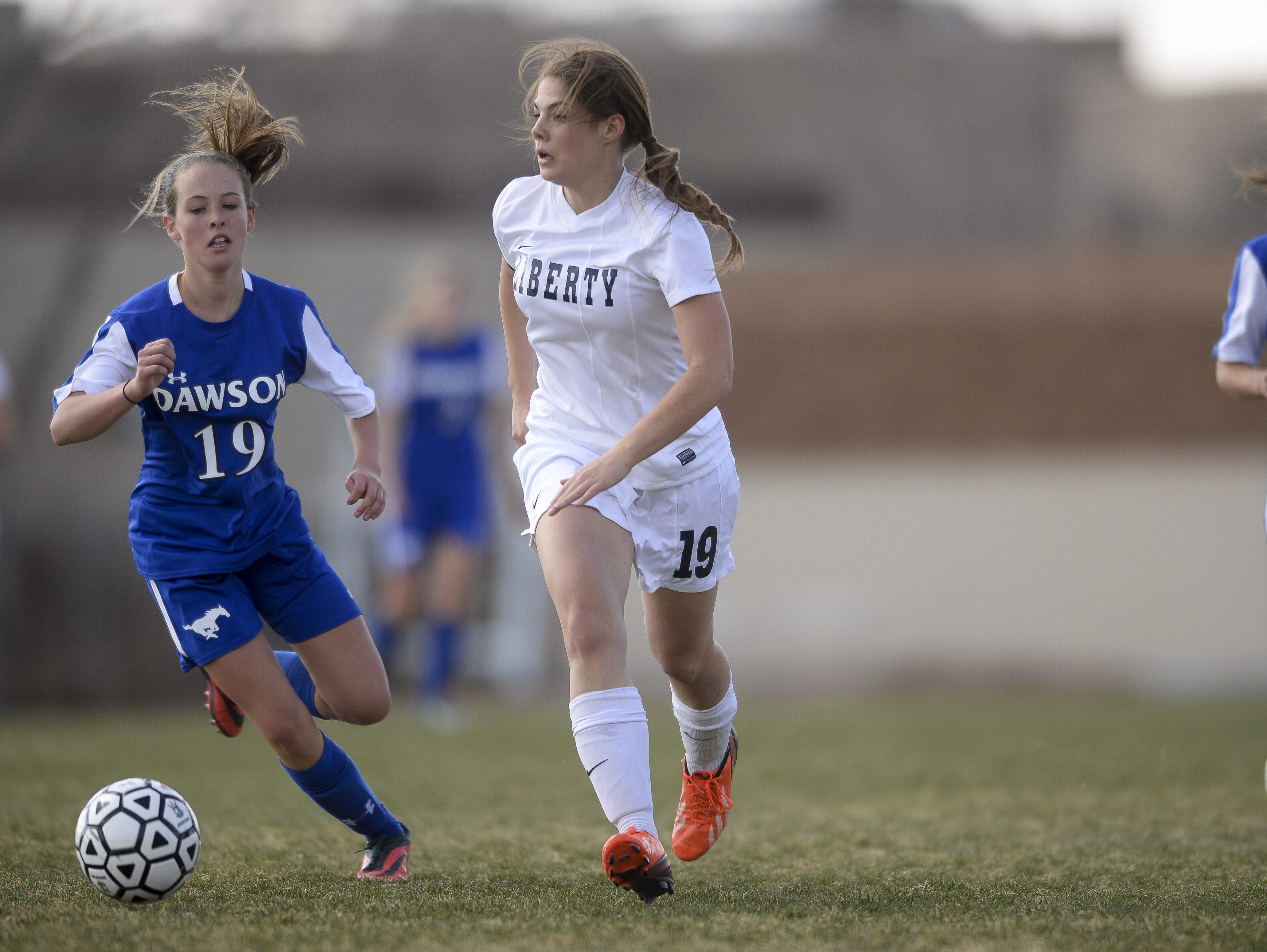 Liberty Common's Olivia Bachelet, shown in a game last season, has been named the Coloradoan's Female Athlete of the Week.