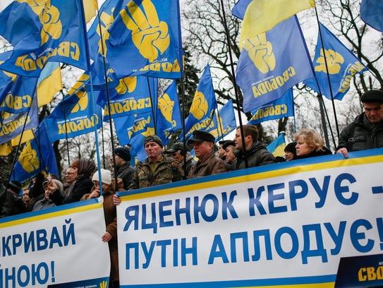 Ukrainian supporters of nationalist Svoboda (freedom)