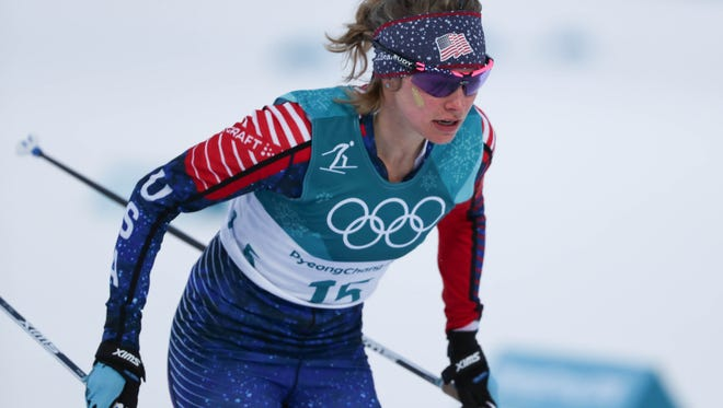 Jessica Diggins (USA) competes in the cross country skiing sprint classic.
