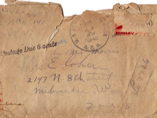 This is the envelope that young soldier Al Cohen used