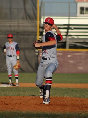 Estero pitcher Carson King delivers to the plate during a game last season. King made his verbal commitment to play college baseball at Florida Southern College in Lakeland.