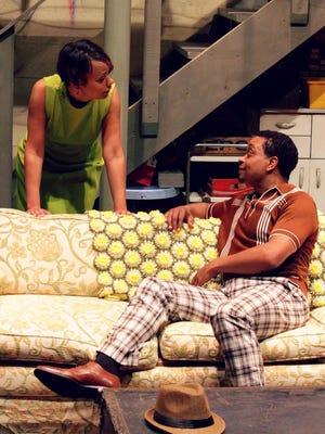"Zina Camblin as Chelle and Bryant Bentley as Lank in Cincinnati Ensemble Theatre's ""Detroit '67."""