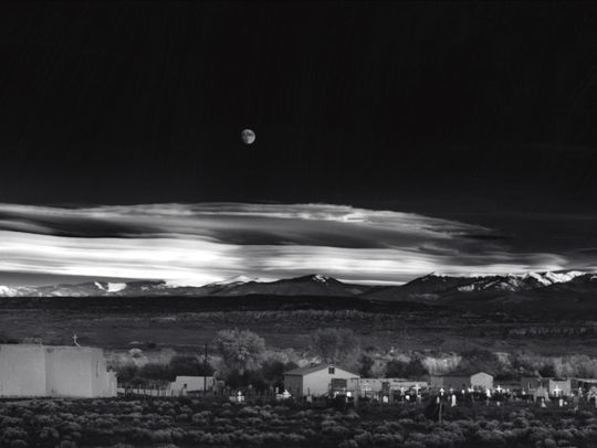 """Ansel Adams' classic1941 photo known as """"Moonrise."""""""