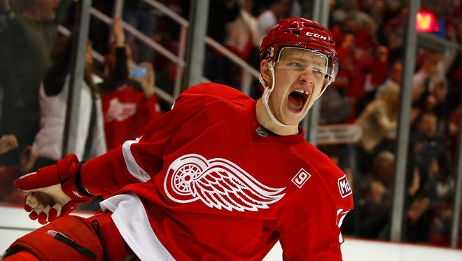 Evgeny Svechnikov reacts to his shoot-out goal during the Red Wings' 5-4 victory over the Senators on April 3, 2017 at Joe Louis Arena.