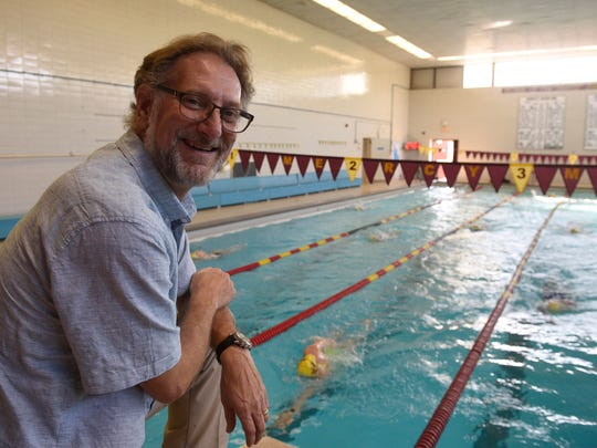 Mike Venos is in his second year as Farmington Mercy's girls swimming head coach.
