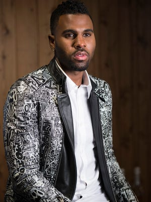 "Jason Derulo, 25, poses at his label's offices in New York on Monday. The pop singer released fourth album, ""Everything is 4,"" this week, led by his top 10 single ""Want to Want Me."""
