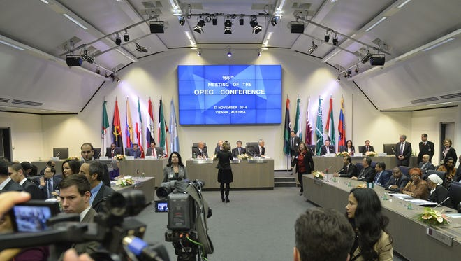 A general view shows the166th ordinary meeting of the Organization of the Petroleum Exporting Countries, OPEC, at their headquarters in Vienna.