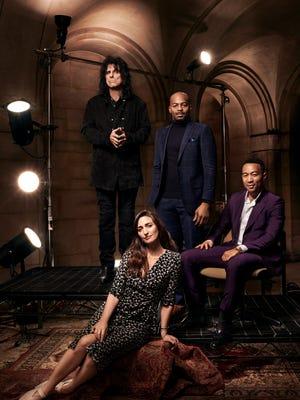 "Alice Cooper, left, Sara Bareilles, Brandon Victor Dixon and John Legend star in NBC's ""Jesus Christ Superstar Live,"" airing Sunday."