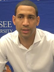 TSU coach Dana Ford speaks to reporters after the Tigers lost to Ball State.