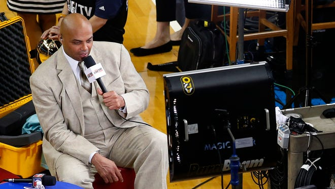 Charles Barkley broadcasts prior to Game 4 of the 2014 NBA Finals between the Miami Heat and the San Antonio Spurs at American Airlines Arena.