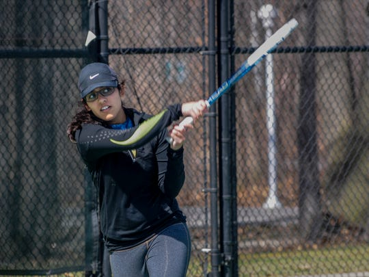 Sophia Ahmed hits a backhand during a Port Huron Nothern tennis practice April 19.