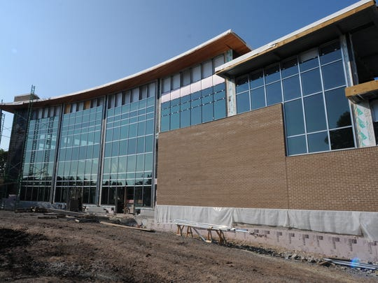 The University of Wisconsin-Oshkosh Alumni Welcome and Conference Center during construction in 2013.